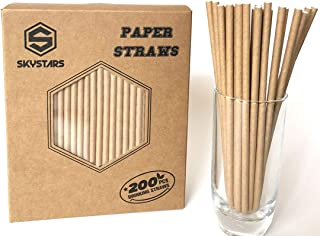 SKYSTARS 200 PCS Kraft Paper Straws Dye-Free Biodegradable - Eco-Friendly Natural Brown Paper Drinking Straws for Party Decorative