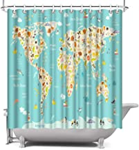 ArtBones Animal Map Shower Curtain Cartoon World Map Children Kids Bathroom Bath Curtain with Hooks Waterproof Fabric 72x72 inches
