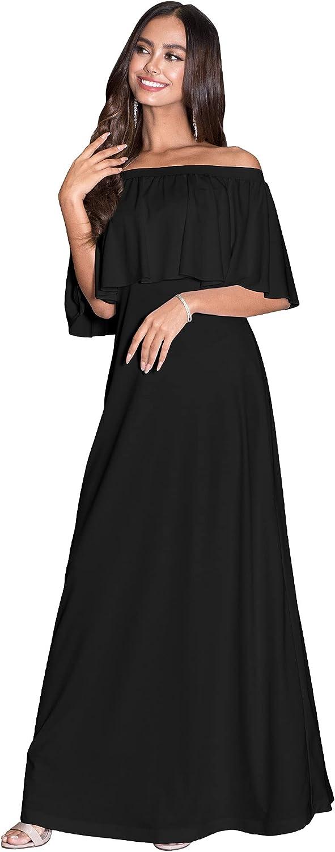 KOH KOH Womens Short Sleeve Off The Shoulder Strapless Ruffle Tube Maxi Dress