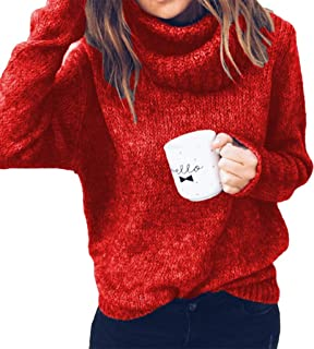 Enggras Women's Oversized Turtleneck Chunky Cable Knit Sweater Long Sleeve Loose Pullover Tops Jumpers