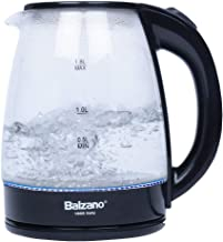 Balzano Glass Electric Kettle, Water Boiler & Heater, 1.8 L, Cordless, LED Indicator, Auto-Shutoff & Boil-Dry Protection, ...