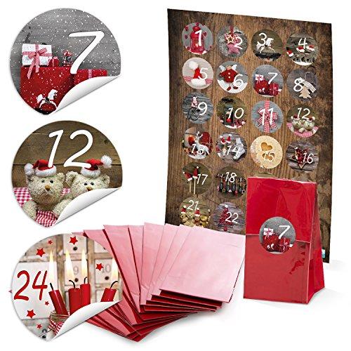 '24roja Navidad Bolsas con base de pergamino (7x 4x 20,5cm) y 24redondas 4cm