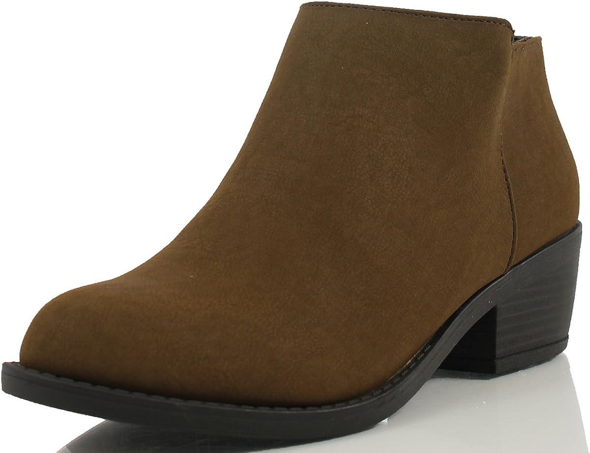 Soda Women's Massen Distress Faux Suede Leather Round Toe Heel Ankle Boot