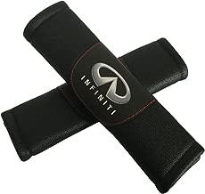 Jimat 2pcs Infiniti Logo Black Leather Car Seat Safety Belt Strap Covers Shoulder Pad Accessories Fit For Infiniti Q50 Q60 Q70 QX30 QX50 QX60 QX70 QX80