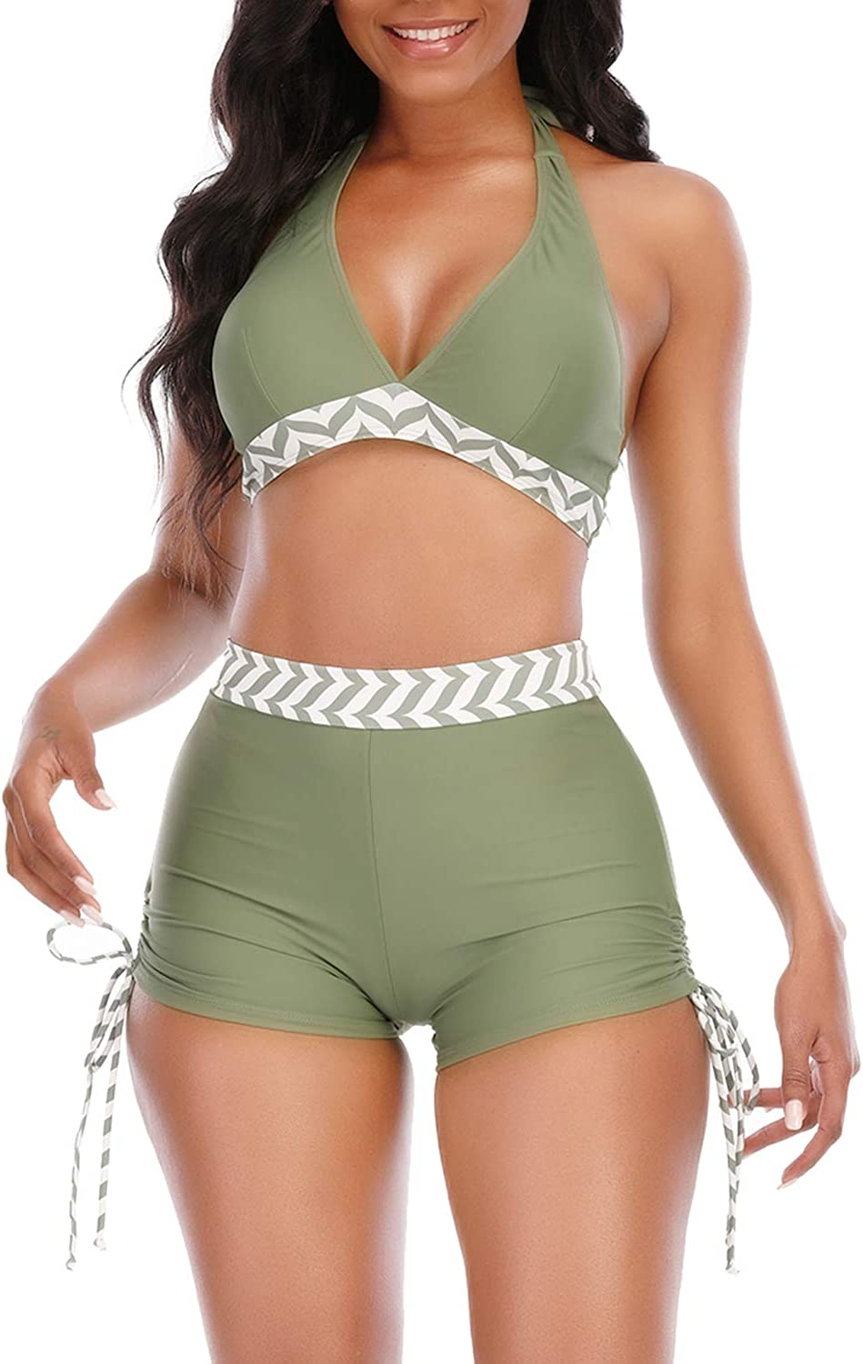 Womens High Waisted Swimsuits with Boy Shorts Brazilian Triangle Top Stripes Halter Bikini Two Piece Bathing Suits