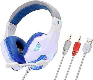 raspbery Casque de Jeu Casque de Jeu Lumineux avec Microphone avec Une Haute qualité sonore Lumineux Flexible pour Les Jeu...