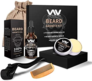 Beard Growth Kit, Beard Growth Oil Serum for Men, Facial Hair Growth Kit with Beard Balm + Comb, Titanium Beard Roller Kit...