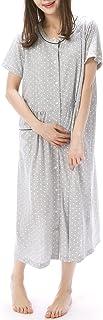 NISHIKI[ニシキ] マタニティ パジャマ 授乳口付き 半袖 綿混 天竺ニット素材 前開き ロング丈 授乳服 ネグリジェ ルームワンピース 部屋着
