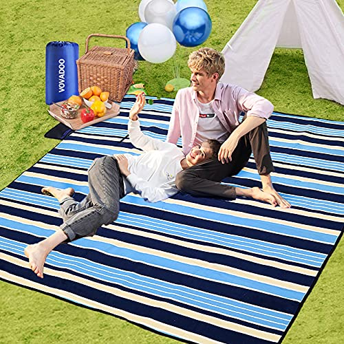 VOVADOO Picknickdecke Wasserdicht, 200 x 200 cm XXL stranddecke Strandmatte Picknickdecken - Tragbar Faltbar Picnic Blanket Outdoor Decke Campingdecke für Picknick,Strand,Campen,Wandern