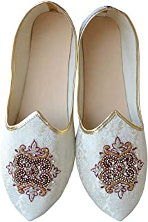 4e7e3f4aa1ce INMONARCH Indian Wedding Shoes for Men Cream Indian Wedding Embroidered  Shoes MJ0963