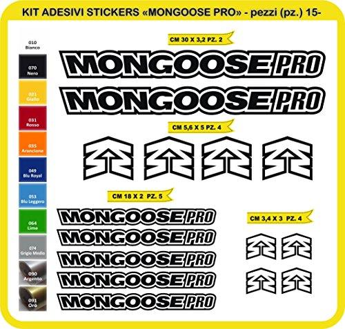 Pimastickerslab Aufkleber Fahrrad MONGOOSE PRO Kit Aufkleber Stickers 15 Stück – bici Bike Cycle wählbar Cod.0815 (070 NERO)
