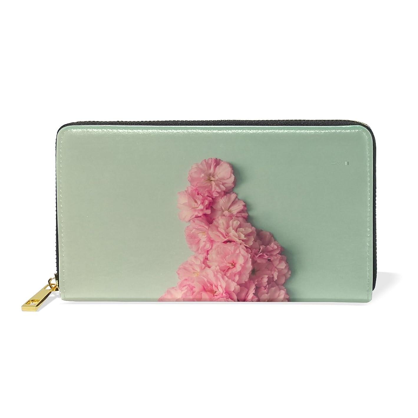 嬉しいです非常に怒っていますメタン旅立の店 長財布 人気 レディース メンズ 大容量多機能 二つ折り ラウンドファスナー 本革  緑背景 ピンクの花柄 ウォレット