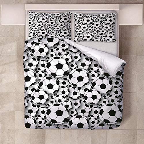 NHBTGH Duvet Cover Sets 70.87x78.74 inch Football Easy care Anti Allergy Soft & Cosy 3 Piece Polyester Bedding Set with Zipper Closure and 2 Pillow Cases (2x19.69x29.53 inch) - White