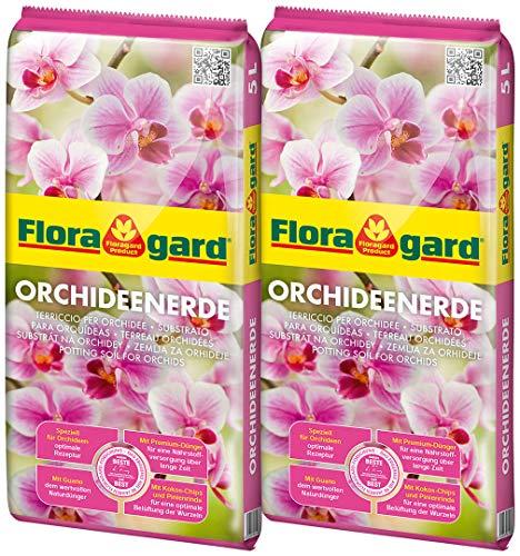 Floragard Orchideenerde 2x5L - für Phalaenopsis und andere Orchideenarten - mit Premium-Dünger und Pinienrinde