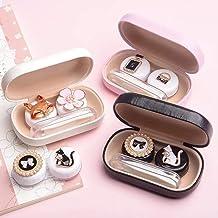 Caja de lentes de contacto de viaje, Portatil Estuche Lentillas Kit, Linda Dibujos Animados Estuche para Gafas y Lentillas, Perfecto para Al Aire Libre en Casa (Blanco Caja Gato)