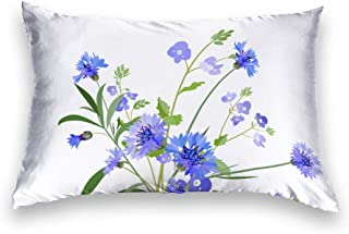 AILOVYO Cornflower Blue Floral Silky Shiny Satin Pillow Case Cover Custom Material 14 X 24 Inch