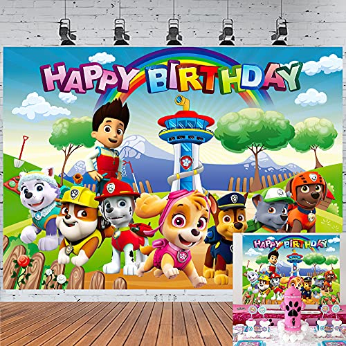 Cartoon Dog Party Supplies Backdrop Baby Shower Decoration Happy Birthday Banner for Boys Kids Photography Background Rainbow Photo Background Cake Table 7X5ft