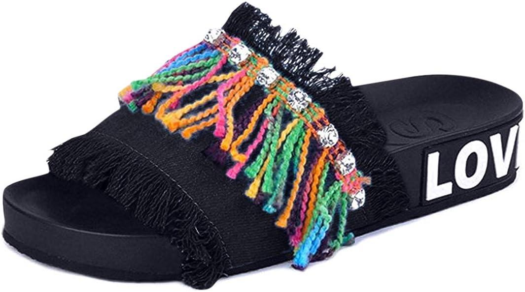 U-MAC Womens Slides Sandals Denim Tassel Soft Comfort Slip On Slide Flat Slipper Limit
