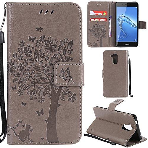 Ooboom® Huawei Honor 6C Hülle Katze Baum Muster Flip PU Leder Schutzhülle Handy Tasche Hülle Cover Standfunktion mit Kartenfächer für Huawei Honor 6C - Grau