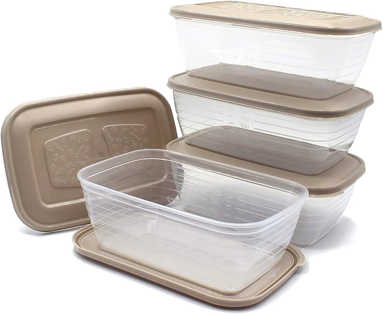 Unishop Set de 5 Recipientes de Plástico para Comida, Fiambreras Sin BPA, Táper Apto para Microondas, Congelador y Lavavajillas, de Colores Pastel (Marrón, 1200ml)