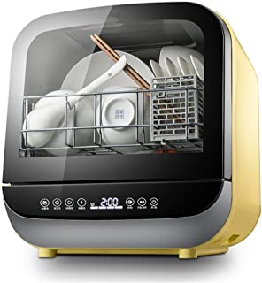 Guoda Lavavajillas Lavavajillas Lavavajillas Portátil Encimera 950W Potencia No Requiere Instalación Completamente Automática Desinfección Secado Amarillo