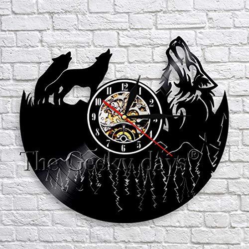 KEC Reloj de Pared con Registro de Vinilo de Lobo aullador, Reloj de Tiempo 3D de Animales Salvajes de Bosque, decoración artística de Pared única para Dormitorio, Cocina