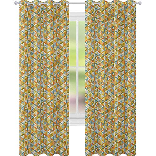 YUAZHOQI - Cortina de ventana abstracta con diseño de flores de la vida, diseño vintage, formas ovaladas, líneas geométricas, retro, para sala de estar, 132 x 182 cm, multicolor