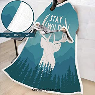 Adventure Premium Sherpa Deluxe Fleece Blanket with Sleeves,Wilderness Themed Stay Wild Quote with Scenic Mountain Backdrop Forest Decorative Throws Wrap Robe Blanket for Adult Women,Men,Baby Blue Dar