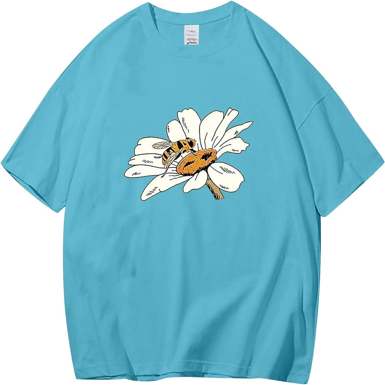 Womens Casual Summer Tee Blouses Fun Pattern Print Short-Sleeved T-Shirt