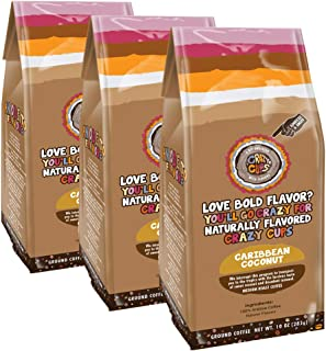 Crazy Cups Freshly Ground Coffee, Flavored Caribbean Coconut with Caramel, Medium Roast, 10 oz. Bag - 100% Arabica, 3-Pack