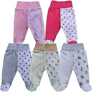 MEA BABY Unisex Baby Hose mit Fuß Baby Strampelhose mit Fuß 5er Pack. Baby Hose mit fuß Mädchen Baby Hose mit fuß Jungen