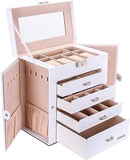 Seelux Boîte à Bijoux avec Miroir 5 Etagères 4 Tiroirs, Coffre à bijoux Verrouillable, Deux côtés peuvent être ouverts, Ra...