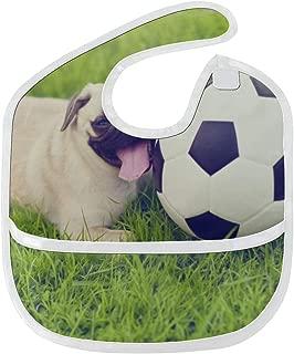 WDDHOME Baberos de bebé Niña Cachorro de perro con balón de fútbol ...