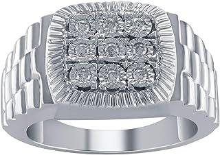تريليون جواهر 925 الفضة جولة قص 0.25 قيراط الماس الطبيعي (اللون : I-J، النقاء: I1-I2) خاتم رجالي