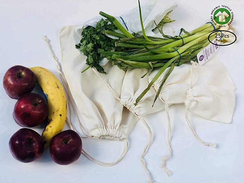 Muslin Bags - Double Drawstring, 100% Organic Cotton, Premium Quality Eco Friendly Re-useable Natural Bags. Pack of 25 (8 x 12 Inches)
