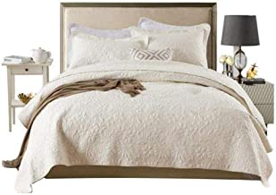 3-Piece Patchwork Bedspread Embossed Quilted Quilt Cotton Coverlet Washable Blanket, Beige, Queen
