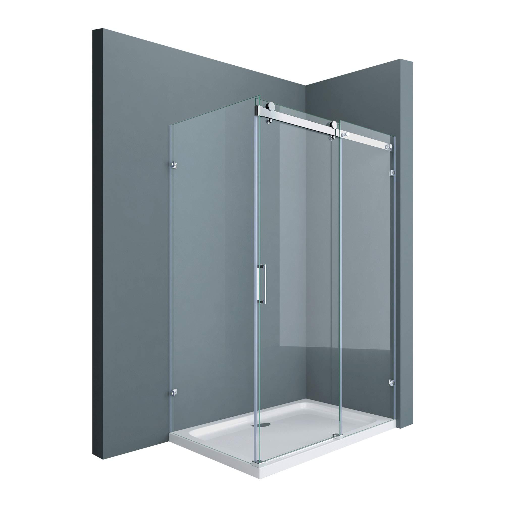 Sogood Cabina de ducha de esquina Ravenna17-2, 90x150x195cm mampara de ducha con puerta corredera de vidrio de seguridad templado transparente | con 4 puntos de fijación: Amazon.es: Bricolaje y herramientas