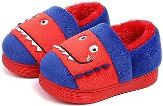 Chausson Enfant Fille Peluche Pantoufle Coton Semelle Souple pour Maison Chaussures Garçons Hiver Chaud Chaussons Anti-dér...