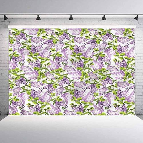 7x7FT Vinyl Wall Photography Backdrop,Mauve,Botanic Spring Plants Background for Baby Birthday Party Wedding Graduation Home Decoration