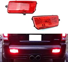 iJDMTOY Complete LED Rear Fog Light Kit For 2005-2010 Jeep Grand Cherokee WK1, Includes Brilliant Red LED Bulbs, Red Lens Foglamp Assemblies & Wiring Harness