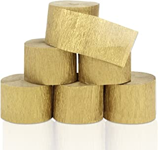 Coceca 82ft Gold Streamers Rolls Gold Crepe Paper Streamers, 6 Rolls, for Various Birthday Party Wedding Festival Party Decorations