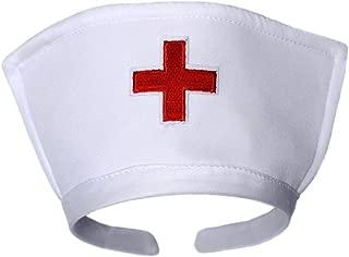 White Nurse Hat Headband with Red Cross - Halloween Costume Accessory