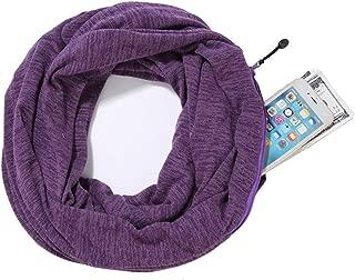IRISGOD Womens - Infinity - Plaid - Blanket - Travel - Scarf, Winter Lightweight Soft Wrap Scarves with Hidden Zipper Pocket