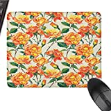 Rose Mouse pad is Durable and Comfortable Old Style Rose Bouqet with Vivid Season Colors Lift Spirit Symbol Artsy Work Long Lasting Color Fades W12 x L27.5 x H0.8 Inch Cream Orange Green