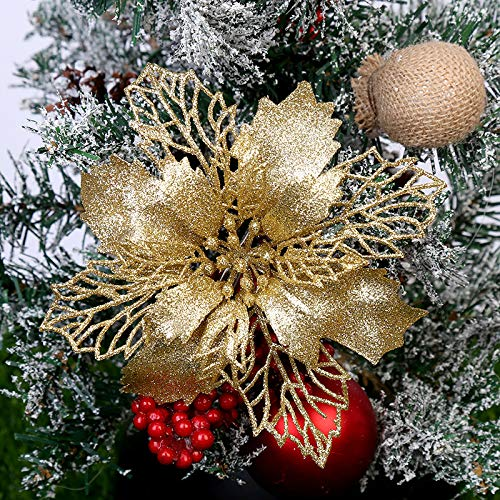 Yueshop 10PCS Christmas Large Poinsettia Glitter Flower Tree Hanging Party Xmas Decor (Gold)