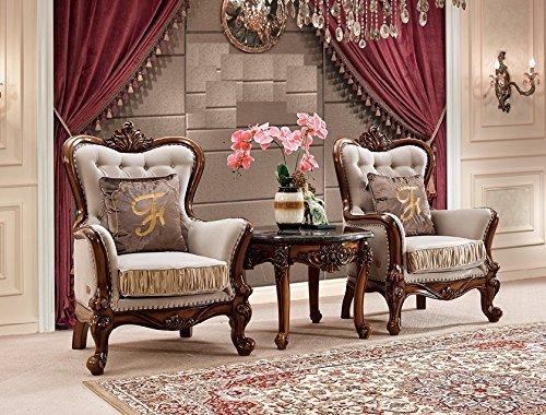 Ma Xiaoying Ensemble de meubles de salon en cuir véritable, bois de hêtre massif, collection traditionnelle (2 chaises et 1 table ronde), couleur grise.