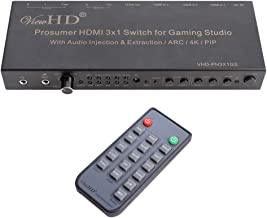 ViewHD Prosumer HDMI 3x1 Switch   4K@30Hz HDMI v1.4   MIC Audio Injection / Combiner   HDMI Audio Extractor   Optical / Coax / RCA L/R to HDMI Audio  ARC   Model: VHD-PH3X1GS