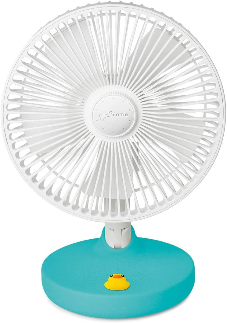 Bone USB Desk Fan 2000mAh Built-in Battery Portable Fan, Fordable Table Fan with 180° Rotation, 3 Wind Speed Levels, Strong Airflow and Quiet Operation for Home Office Outdoor Travel (Patti Duck)