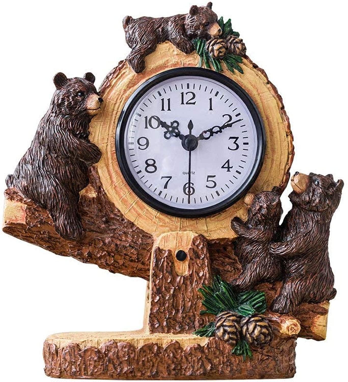 机の時計家族の時計くまの置時計、樹脂の漫画の無言の装飾の居間の寝室の子供の部屋居間の寝室のオフィスのために適した