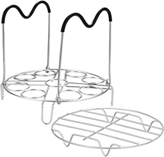 Steamer Rack Trivet Accessory Set, Include 9-holes Egg Cooking Rack with Heat Resistant Silicon Handles & Compatible for 6, 8 Quart Pressure Cooker Trivet, 304 Stainless Steel Instant Pot Accessories